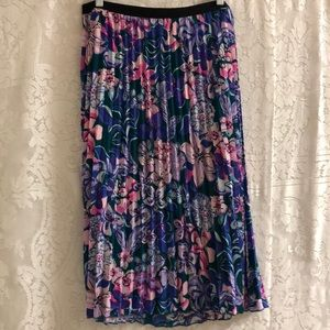 Lilly Pulitzer floral skirt purple, teal L & XL